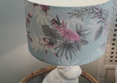 Bespoke lampshade made from customers palm print fabric.