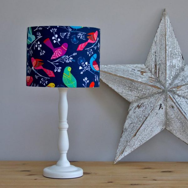 Bright Blue Birds handmade drum lampshade