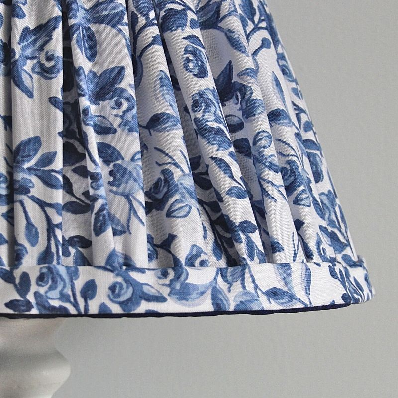 Blue White flowers gathered lampshade handmade by Two Little Lights