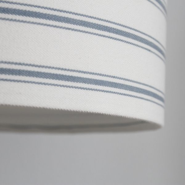 Blue Ticking Stripe Lampshade in Laura Ashley Linen - Two Little Lights - Frame Close Up