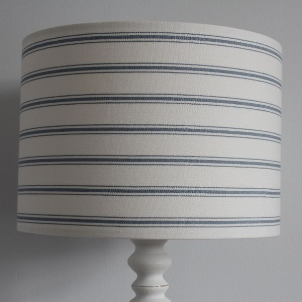 Blue Ticking Stripe Lampshade in Laura Ashley Linen - Two Little Lights - Lampbase