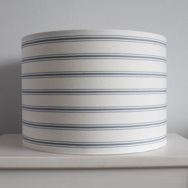 Blue Ticking Stripe Lampshade in Laura Ashley Linen - Two Little Lights - Lampshade