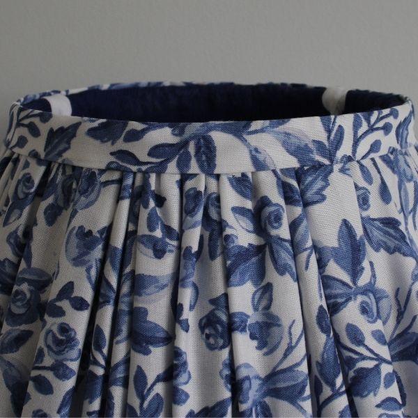 Blue & White Gathered Lampshade