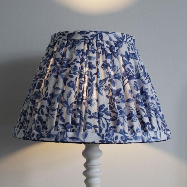 Blue & White Gathered Lampshade on Lampbase