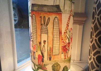 20cm Drum Table Lamp in Zoo Print