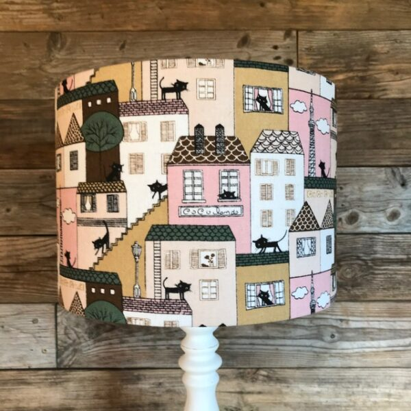 Cat & pink houses drum lampshade - Two Little Lights - pattern colours